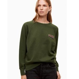 Aritzia Wilfred Free Green Embroidered Crewneck